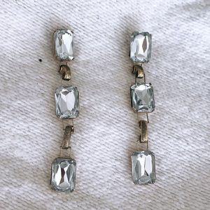 NEW Anthropologie CRYSTAL GOLD STATEMENT EARRINGS
